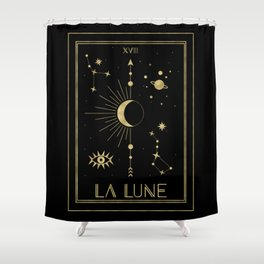 The Moon or La Lune Gold Edition Shower Curtain