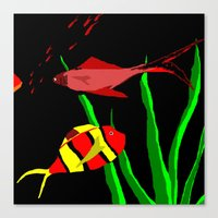 scuba Canvas Prints featuring Scuba by Happy Fish Gallery
