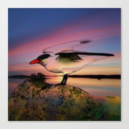 Sunset Take-off - Gull Painted with Sunset Colors Canvas Print