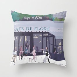 Cafe de flore Throw Pillow