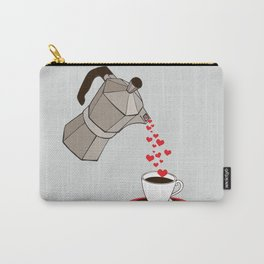 Kitchen Living Room Interior Wall Home Decor with Cuban Coffee Maker pouring Hearts Carry-All Pouch