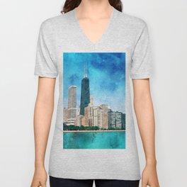 Chicago, Illinois Artwork Unisex V-Neck