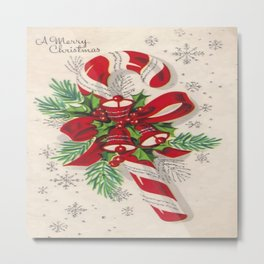 A Vintage Merry Christmas Candy Cane Metal Print
