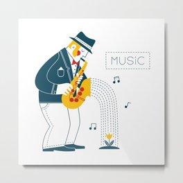Man playing the saxophone Metal Print