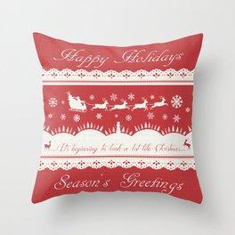 Christmas Winter Scene Santa Sleigh and Reindeer Design Throw Pillow