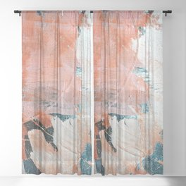Interrupt [2]: a pretty minimal abstract acrylic piece in pink white and blue by Alyssa Hamilton Art Sheer Curtain