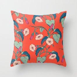 Flowering Vines - Vibrant Scarlet Summer Throw Pillow