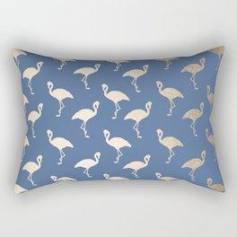 Gold Flamingo on Aegean Blue Rectangular Pillow