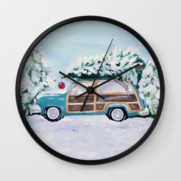 Blue vintage Christmas woody car with pine tree Wall Clock