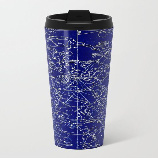 Constellation Stars blue space map on gold marble Metal Travel Mug