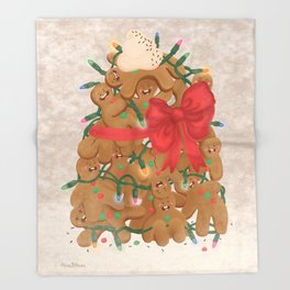 Merry Christmas from Gingerbread Men Throw Blanket
