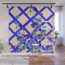 BLUE MORNING GLORIES & BLUE-CREAM LATTICE  DESIGN Wall Mural