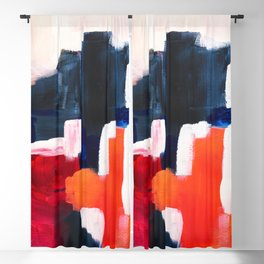 Abstract painting Navy Pink Coral Blackout Curtain