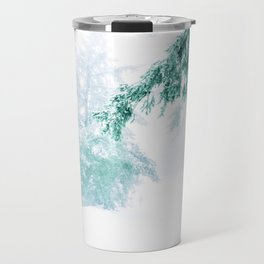 Emerald forest in blizzard and snow Travel Mug