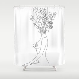 Minimal Line Bloom Shower Curtain