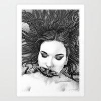 monika strigel Art Prints featuring Silent - Monika Jasnauskaite by Junkie Juice