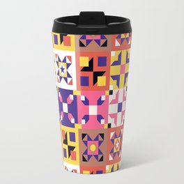 Maroccan tiles pattern with pink and purple no3 Travel Mug