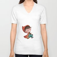 red hood V-neck T-shirts featuring Red Riding Hood by Antoana Oreski Illustration
