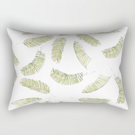 Tropical Beach Palm Leaves (Green and White Repeat Pattern) Rectangular Pillow