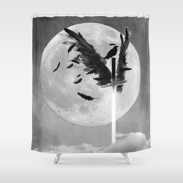 Black and White Cross with Wings Crow Moon Gothic Art A623 Shower Curtain