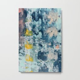 017.3: a bright contemporary abstract design in blues pinks and yellow by Alyssa Hamilton Art  Metal Print