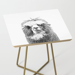 Black and White Alpaca Side Table