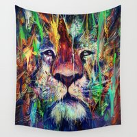 lion Wall Tapestries featuring Lion by nicebleed