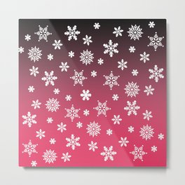 Snow Flurries-Pink/Black Ombre Metal Print