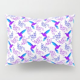 Pretty beautiful cute purple blue hummingbirds, delicate twigs with little leaves seamless pattern. Pillow Sham