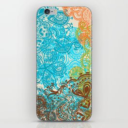 Indian boho pattern with ornament in blue, ornage and green iPhone Skin