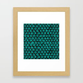 Mermaid Glam // Turquoise Glitter Watercolor Scales on Charcoal Chalkboard Framed Art Print