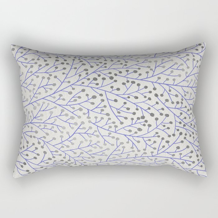 Silver & Periwinkle Berry Branches Rectangular Pillow