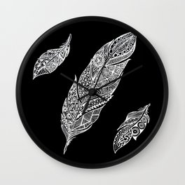White feathers on black Wall Clock