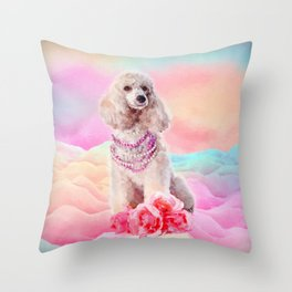Watercolor digital art Poodle with flowers Throw Pillow