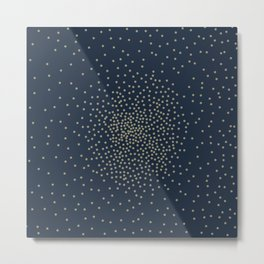 Dots Illusion - Gold and Navy Blue Metal Print