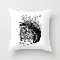 bug Throw Pillows featuring BUG! by PRESTOONS / Art by Dennis Preston