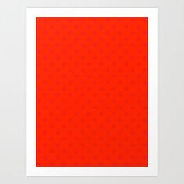 Crimson Red on Scarlet Red Snowflakes Art Print