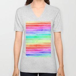 Bright Rainbow Colored Watercolor Paint Stripes Unisex V-Neck