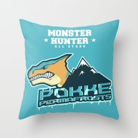 monster hunter Throw Pillows featuring Monster Hunter All Stars - Pokke Permafrosts  by Bleached ink