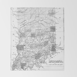 Vintage Map of Indiana (1827) BW Throw Blanket