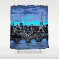 blankets Shower Curtains featuring Eiffel Tower ~ Paris France by RokinRonda