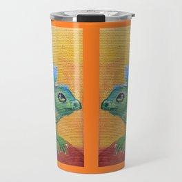 Brontosaurus Colorful Fancy Dinosaur illustration Dragon mirror composition on the orange background Travel Mug