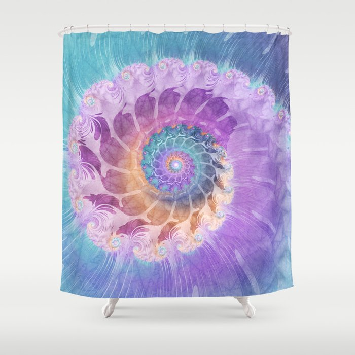Painted Fractal Spiral In Turquoise Purple And Orange Shower Curtain By Kellydietrich