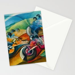Italian Grand Prix Motorcycle Racing in the Alps color landscape painting by Ugo Giannattasio Stationery Cards