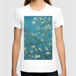 Vincent van Gogh Blossoming Almond Tree (Almond Blossoms)  Dark Blue T-shirt