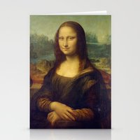 mona lisa Stationery Cards featuring Mona Lisa by Leonardo da Vinci by Palazzo Art Gallery
