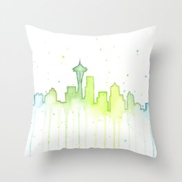 Seattle Skyline Watercolor Space Needle Painting Throw Pillow