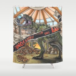When Dinosaurs Ruled the Earth - Jurassic Park T-Rex Shower Curtain