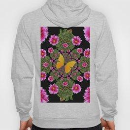 Yellow Butterfly Fuchsia Pink Dahlias Stylized Garden Black Pattern Hoody