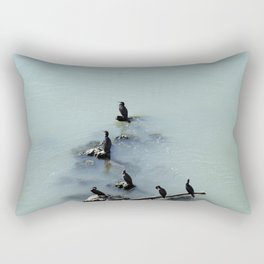 Cormorants Birds on the River Rectangular Pillow